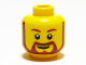 Part No: 3626bpb0332  Name: Minifigure, Head Beard Brown Rounded with White Pupils and Grin Pattern - Blocked Open Stud
