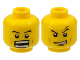 Part No: 3626bpb0358  Name: Minifigure, Head Dual Sided Power Miner Thin Eyebrows, Determined / Open Mouth Grin with Teeth Pattern - Blocked Open Stud