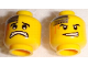Part No: 3626bpb0361  Name: Minifigure, Head Dual Sided Power Miner Silver Plate and Orange Scars, Determined / Scared Pattern - Blocked Open Stud