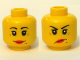 Part No: 3626bpb0366  Name: Minifigure, Head Dual Sided Female Red Lips, Crow's Feet and Beauty Mark, Smile / Annoyed Pattern - Blocked Open Stud