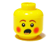 Part No: 3626bpb0394  Name: Minifigure, Head Rosy Cheeks, Open Mouth, Brown Eyebrows Pattern (Caroler) - Blocked Open Stud