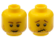 Part No: 3626bpb0398  Name: Minifigure, Head Dual Sided Stubble Smile / Crinkled Mouth and Inverted Eyebrows Pattern - Blocked Open Stud