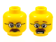 Part No: 3626bpb0404  Name: Minifigure, Head Dual Sided Glasses, Brown Eyebrows and Moustache Closed Mouth / Open Mouth Scared Pattern - Blocked Open Stud