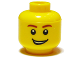 Part No: 3626bpb0405  Name: Minifigure, Head Male Brown Eyebrows, Open Lopsided Grin, White Pupils Pattern - Blocked Open Stud