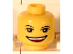 Part No: 3626bpb0413  Name: Minifigure, Head Black Eyebrows, White Pupils, Open Smile Wide Pattern (LEGO Club Max) - Blocked Open Stud