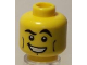 Part No: 3626bpb0428  Name: Minifigure, Head Male Black Crooked Eyebrows, Vertical Cheek Lines, White Mouth and White Pupils Pattern - Blocked Open Stud