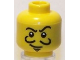 Part No: 3626bpb0432  Name: Minifigure, Head Thin Crooked Eyebrows, Curly Moustache, Goatee, and White Pupils Pattern - Blocked Open Stud