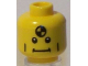 Part No: 3626bpb0433  Name: Minifigure, Head Vertical Cheek Lines, Straight Mouth and White Pupils Pattern (Crash Test Dummy) - Blocked Open Stud