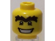 Part No: 3626bpb0438  Name: Minifigure, Head Male Black Eyes with White Pupils, Unibrow and Wide Mouth Pattern - Blocked Open Stud
