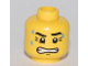 Part No: 3626bpb0462  Name: Minifigure, Head Dripping Sweat, with Clenched Teeth and Crow's Feet Pattern - Blocked Open Stud