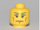 Part No: 3626bpb0463  Name: Minifigure, Head Blue Eyebrows, Vertical Cheek Lines, Slight Frown, Chin Dimple and White Pupils Pattern - Blocked Open Stud