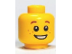 Part No: 3626bpb0471  Name: Minifigure, Head Brown Eyebrows and Freckles, Open Smile, White Pupils Pattern - Blocked Open Stud