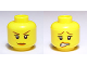 Part No: 3626bpb0529  Name: Minifigure, Head Dual Sided Female Brown Eyebrows, Freckles, Scared / Smile Pattern - Blocked Open Stud