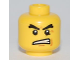 Part No: 3626bpb0533  Name: Minifigure, Head Black Raised Eyebrows, Angry Open Mouth, White Pupils Pattern - Blocked Open Stud