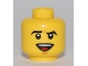 Part No: 3626bpb0537  Name: Minifigure, Head Male Black Eyebrows Furrowed, Open Mouth Smile with Teeth and Tongue, White Pupils Pattern - Blocked Open Stud