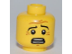 Part No: 3626bpb0548  Name: Minifigure, Head Black Eyebrows, White Pupils, Wrinkles, Scared Look, Open Mouth Smile with Teeth Pattern - Blocked Open Stud