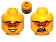 Part No: 3626bpb0583  Name: Minifigure, Head Dual Sided Glasses with Orange Lenses, Smile / Mouth Open Upset Pattern - Blocked Open Stud