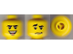 Part No: 3626bpb0586  Name: Minifigure, Head Dual Sided Black Curved Eyebrows, Brown Chin Dimple, Laughing / Worried Pattern - Blocked Open Stud