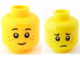 Part No: 3626bpb0595  Name: Minifigure, Head Dual Sided Black Eyebrows, Dark Orange Freckles, Smile / Worried Pattern - Blocked Open Stud