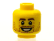 Part No: 3626bpb0606  Name: Minifigure, Head Beard Stubble, Brown Eyebrows, White Pupils, Crow's Feet, Open Smile Pattern - Blocked Open Stud
