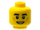 Part No: 3626bpb0608  Name: Minifigure, Head Black Eyebrows, Cheek Dimples, White Pupils and Open Smile Pattern - Blocked Open Stud