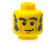 Part No: 3626bpb0609  Name: Minifigure, Head Male Dark Bluish Gray Eyebrows, Bushy Sideburns and Crooked Smile Pattern - Blocked Open Stud