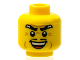Part No: 3626bpb0610  Name: Minifigure, Head Male Thick Eyebrows, Thin Black Moustache, Cheek Dimples, and Sinister Open Smile Pattern - Blocked Open Stud