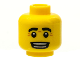 Part No: 3626bpb0611  Name: Minifigure, Head Black Eyebrows, White Pupils, Wrinkles, Open Mouth Smile with Teeth Pattern - Blocked Open Stud