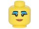 Part No: 3626bpb0613  Name: Minifigure, Head Female with Black Eyebrows, Eyelashes with Thick Dark Azure Mascara, Smile and Dark Orange Lips Pattern - Blocked Open Stud