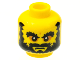 Part No: 3626bpb0614  Name: Minifigure, Head Beard Black, Bushy Eyebrows, Angry Mouth, White Pupils Pattern - Blocked Open Stud