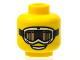 Part No: 3626bpb0615  Name: Minifigure, Head Glasses with White Ski Goggles with Tan and Brown Glass, Strap and Open Smile Pattern - Blocked Open Stud