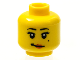 Part No: 3626bpb0616  Name: Minifigure, Head Female with Black Eyelashes, White Pupils, Red Lips, Crooked Smile and Beauty Mark on Left Cheek Pattern - Blocked Open Stud
