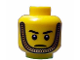 Part No: 3626bpb0617  Name: Minifigure, Head Male Stern Eyebrows, White Pupils and Gold Chin Strap Pattern - Blocked Open Stud