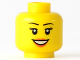 Part No: 3626bpb0633  Name: Minifigure, Head Female with Peach Lips, Open Mouth Smile, Black Eyebrows Pattern - Blocked Open Stud