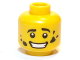 Part No: 3626bpb0660  Name: Minifigure, Head Black Eyebrows, White Pupils, Dirt Stains, Open Mouth Smile with Teeth Pattern - Blocked Open Stud