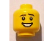 Part No: 3626bpb0716  Name: Minifigure, Head Black Eyebrows, White Pupils, Open Mouth Smile with Teeth Pattern - Blocked Open Stud