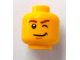 Part No: 3626bpb0738  Name: Minifigure, Head Brown Eyebrows, Lopsided Smile, Chin Dimple and Wink Pattern - Blocked Open Stud