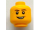 Part No: 3626bpb0740  Name: Minifigure, Head Dark Brown Eyebrows, Smile and Beads of Sweat Pattern - Blocked Open Stud