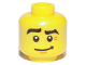 Part No: 3626bpb0776  Name: Minifigure, Head Black Eyebrows, Raised Right Eyebrow, Crooked Smile Pattern - Blocked Open Stud