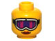 Part No: 3626bpb0788  Name: Minifigure, Head Female Glasses with White Ski Goggles with Pink and Purple Glass, Strap and Red Lips Pattern - Blocked Open Stud
