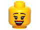 Part No: 3626bpb0789  Name: Minifigure, Head Female with Black Thin Eyebrows, Eyelashes, Red Lips and Open Smile Pattern - Blocked Open Stud