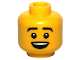 Part No: 3626bpb0793  Name: Minifigure, Head Male Black Eyebrows, Open Mouth Smile Pattern - Blocked Open Stud