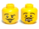 Part No: 3626bpb0800  Name: Minifigure, Head Dual Sided Moustache, Goatee, Raised Eyebrow, Smirk / Open Mouth Scared Pattern - Blocked Open Stud