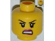 Part No: 3626bpb0829  Name: Minifigure, Head Female with Dark Pink Lips, Black Eyelashes and Angry Eyebrows, Crease under Eye, White Teeth Pattern - Blocked Open Stud