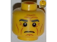 Part No: 3626bpb0830  Name: Minifigure, Head Male Gray Eyebrows, Wrinkles, Downturned Mouth Pattern - Blocked Open Stud