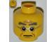 Part No: 3626bpb0839  Name: Minifigure, Head Male Bushy Gray Eyebrows, Wrinkles, Silver Frame Glasses Pattern - Blocked Open Stud