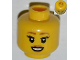 Part No: 3626bpb0850  Name: Minifigure, Head Female with Brown Eyebrows, Eyelashes, Brown Lips, Open Smile Pattern - Blocked Open Stud