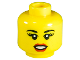 Part No: 3626bpb0854  Name: Minifigure, Head Female with Black Eyebrows, Thick Eyelashes, Red Lips, Open Mouth Pattern - Blocked Open Stud