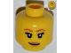 Part No: 3626bpb0855  Name: Minifigure, Head Female with Dark Orange Eyebrows, Eyelashes, Dark Tan Lips, Smile Pattern - Blocked Open Stud
