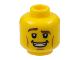 Part No: 3626bpb0861  Name: Minifigure, Head Brown Eyebrows, Raised Right Eyebrow, Cheek Lines, Open Mouth Smile with Teeth Pattern - Blocked Open Stud